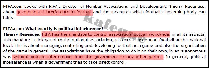 PERATURAN KLAUSA FIFA YANG MENYATAKAN KERAJAAN TIDAK BOLEH CAMPUR TANGAN DALAM FAM
