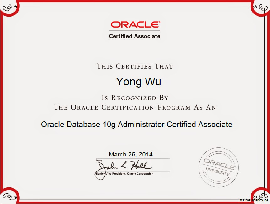 Oracle Certification Pics Cosc3p98