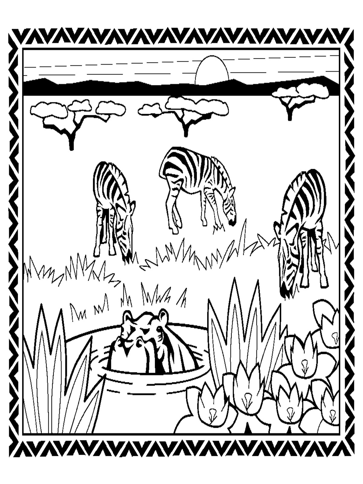 Animal Kids Coloring Pages: Zebra Coloring Pages