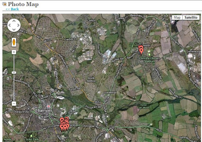 A Google map section showing Barnsley and Cudworth with lots of little red tags on the cemeteries I visited yesterday.