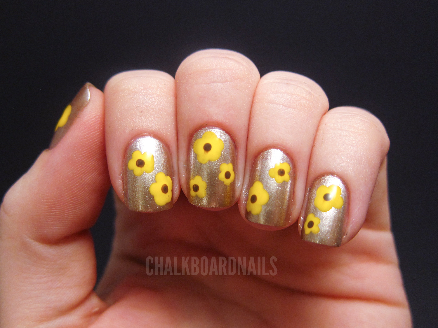 Yellow Flowers And A Charity Ball Chalkboard Nails Nail Art Blog