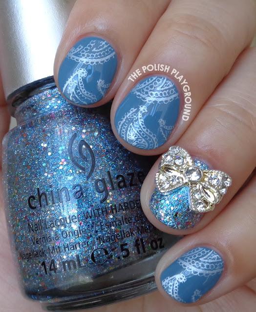 Blue and Silver Paisley Print Stamping Nail Art