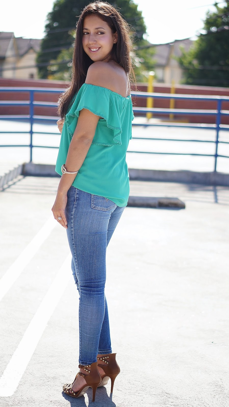 Off the shoulder top, Charlotte Russe Heels, Levis Jeans