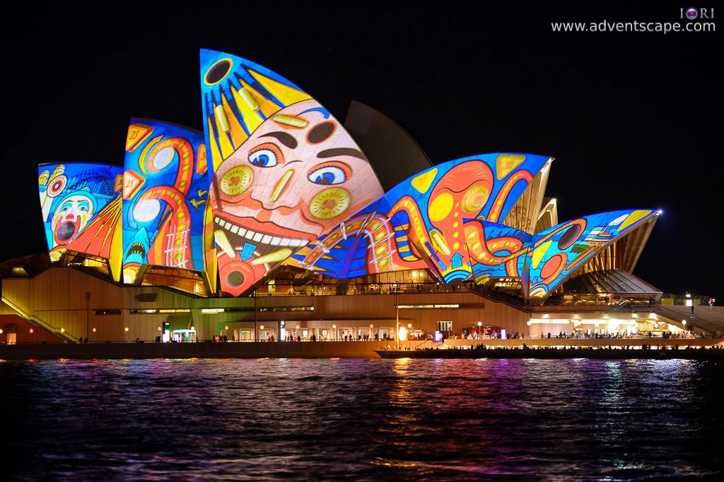 Philip Avellana, Australian Landscape Photographer, Vivid Sydney, Event, CBD, NSW, New South Wales, Australia, lighting, long exposure, 2013, light pattern, Sydney Opera House, Luna Park, face