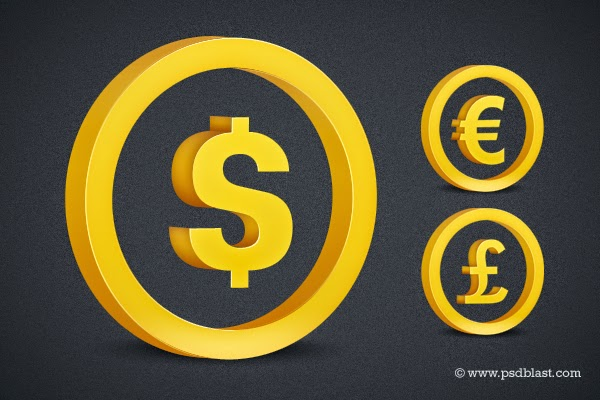 3D Golden Dollar, Euro, Pound Sign PSD