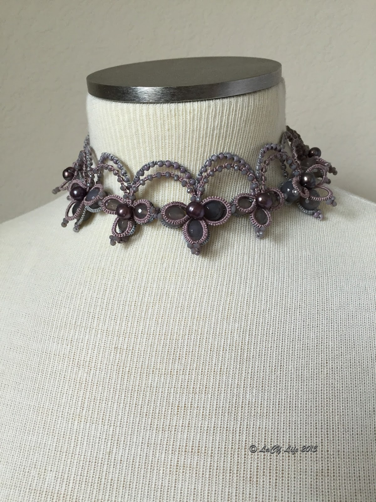 Lacy Life 2015 Shuttle Agate Black I Tatted From Grey And Dusty Plum Purple Polyester Thread Pink Seed Beads Faceted Crystals Natural Round