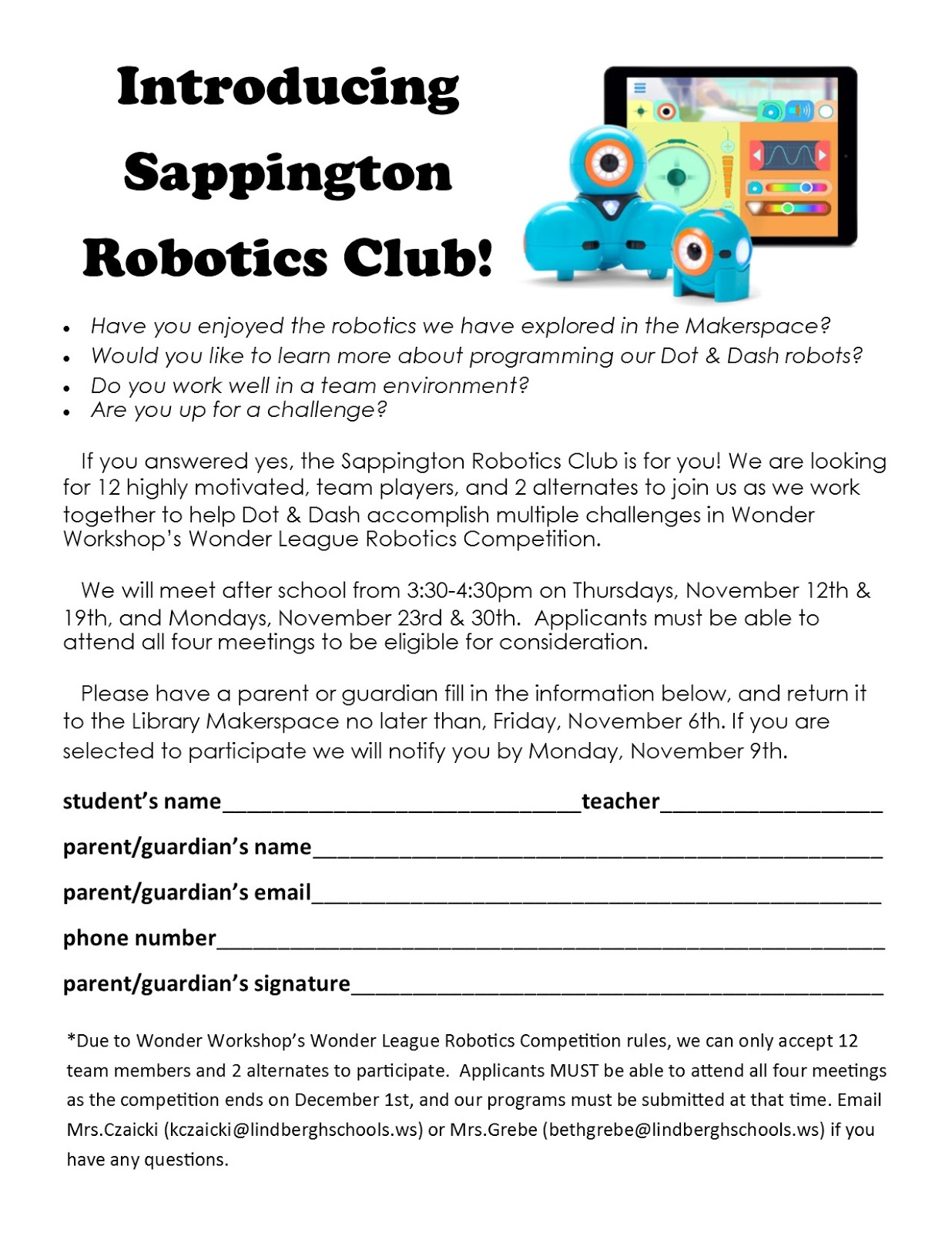 sappington library makerspace if you have any questions please do not hesitate to email mrs czaicki kczaicki lindberghschools ws or mrs grebe bethgrebe lindberghschools ws