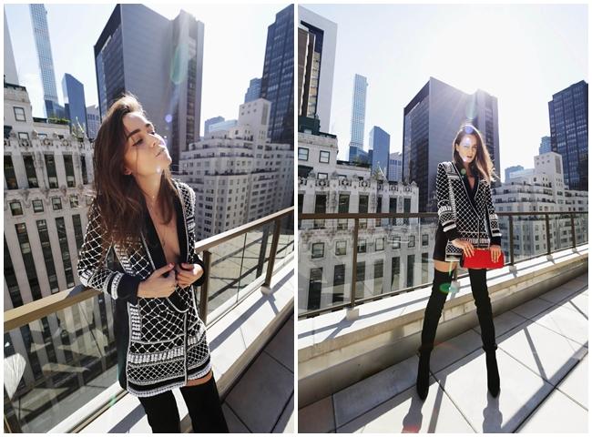 Balmain x H&M 2015 Fall Beaded Velvet Jacket Street Snap