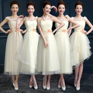 5-Design Vanilla White Past Calf Length Bridesmaids Dress