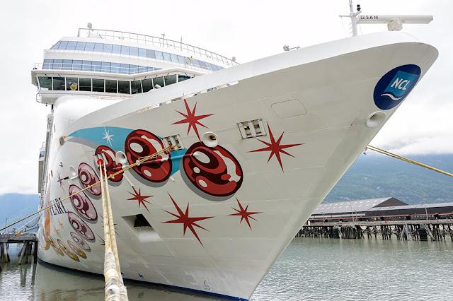 The Norwegian Pearl docked in Skagway, AK