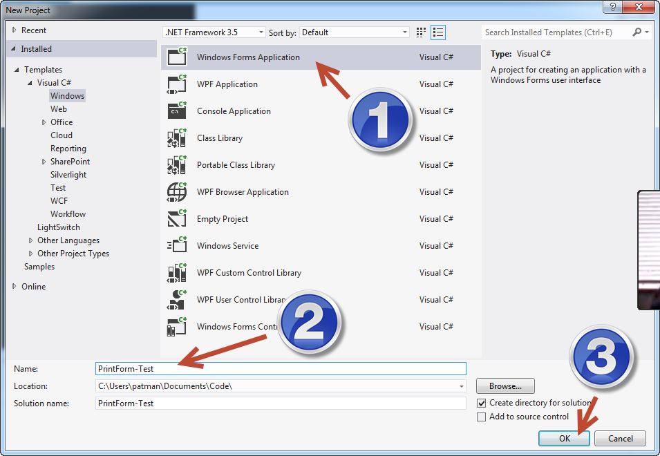 create windows form application c visual studio
