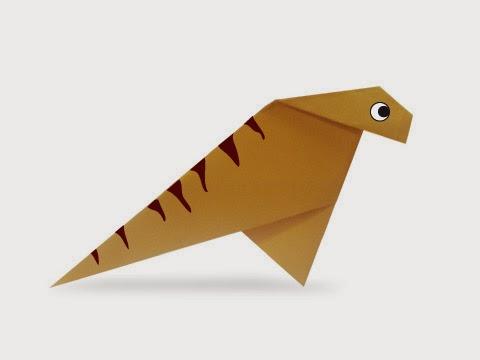 Hướng dẫn cách gấp con khủng long chân chim Iguanodon bằng giấy đơn giản - Xếp hình Origami với Video clip