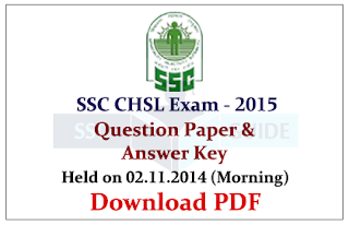 SSC CHSL 2014 Previous Question Paper with Answer Key