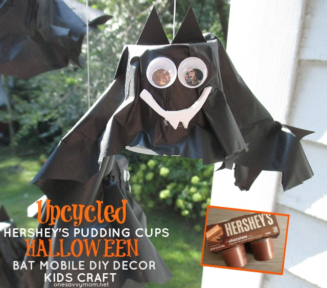 Upcycled Halloween Kids Crafts & Simple DIY Decor - Hershey's Ready To Eat Pudding Cups - How-To Tutorial  Bat Mobile #ReadySetSnack onesavvymom one savvy mom blog nyc