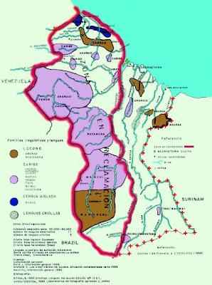 Mapa de Guayana Esequiba, zona de reclamacion Venezolana