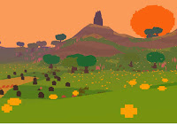 Beautiful pixelated scene of a meadow in evening sun in Proteus.