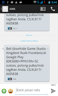 Notifikasi SMS Pembayaran berhasil