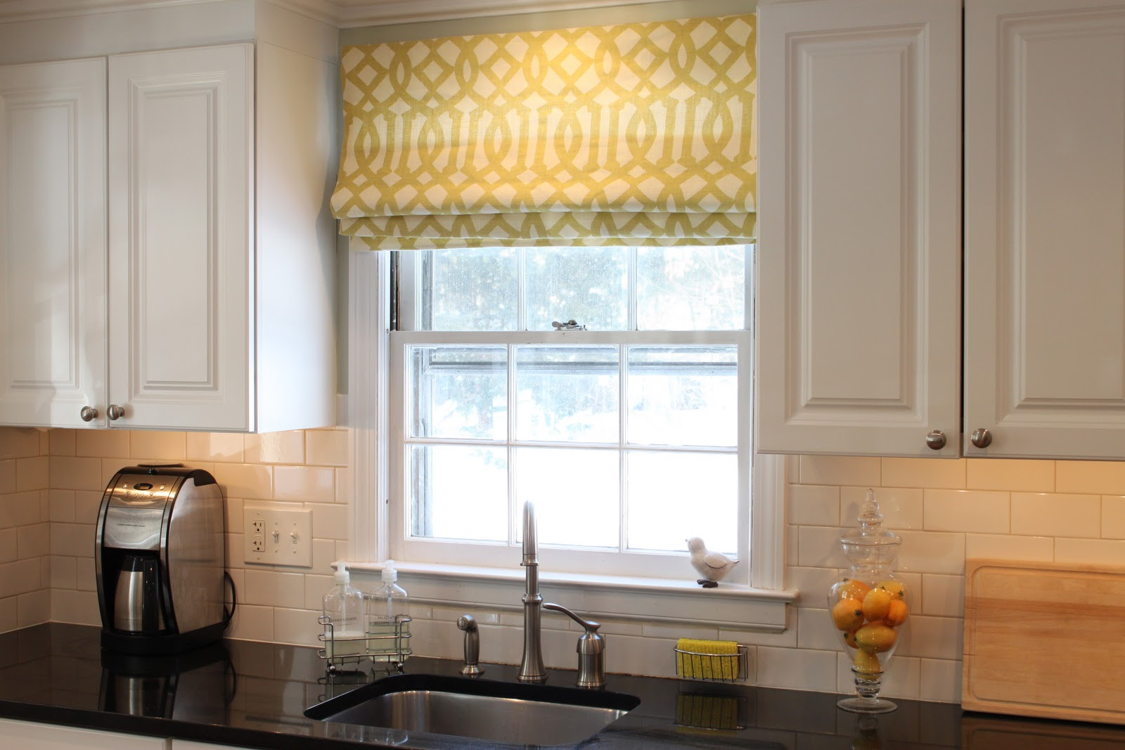 Window treatments by melissa window treatment style for Modern kitchen curtains ideas