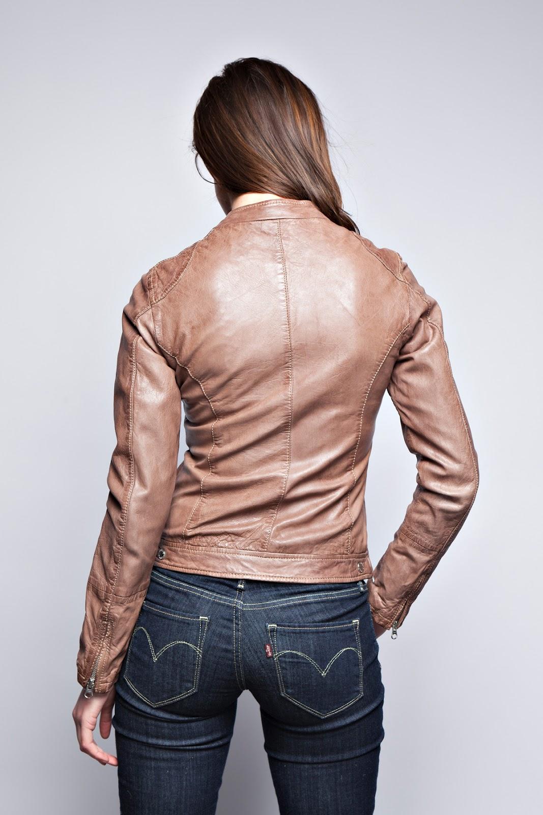 Blouson cuir beige pour femme