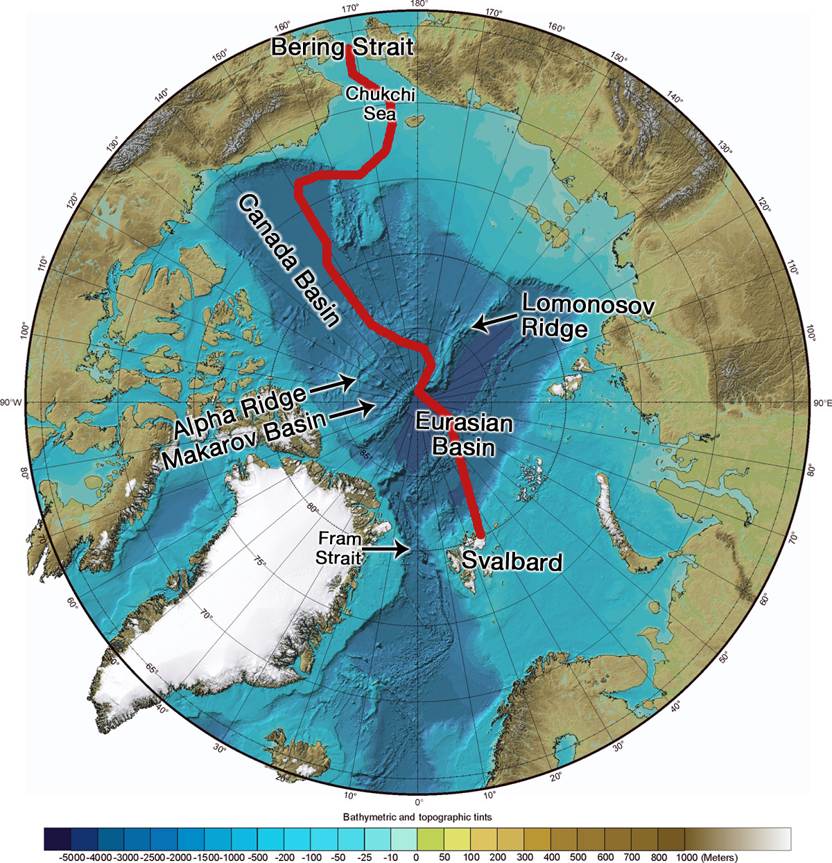 bathymetric and topographic map of the arctic usgs with important geographic and hydrographic features labeled red line represents hydrographic section