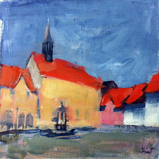 Townhall with Gaenseliesel by Liza Hirst