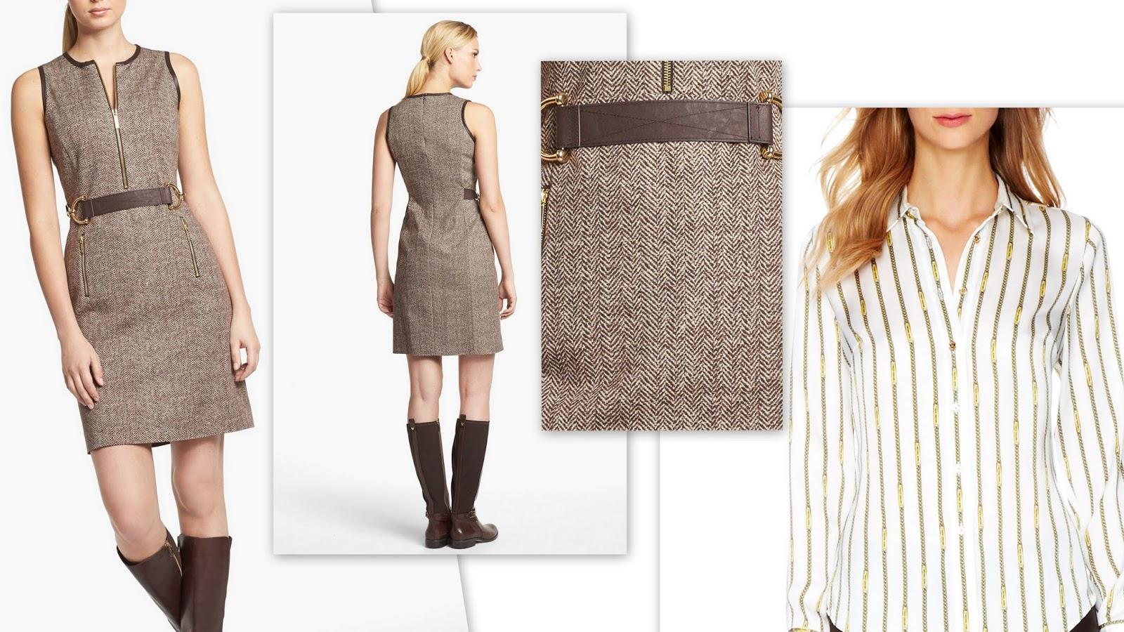 платье-футляр и рубашка в полоску