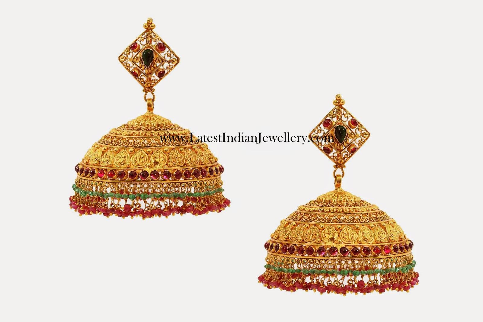Gold Jhumkas in Broad Design