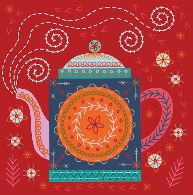 Bright steaming teapot, dcorated with an array of decorative stitches