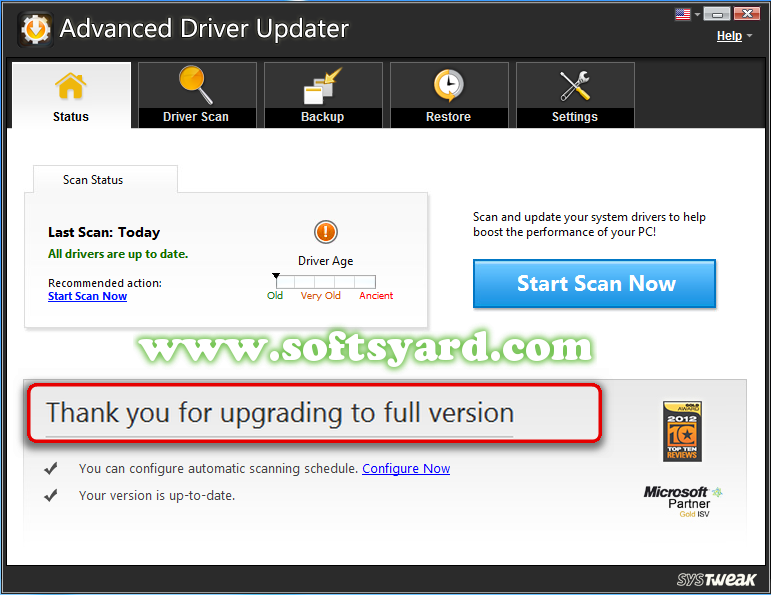 Systweak Advanced Driver Updater v2.1.1086  + Crack Free Download
