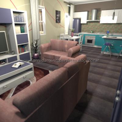 Consigli d\'arredo: Il blu per arredare la cucina soggiorno moderna