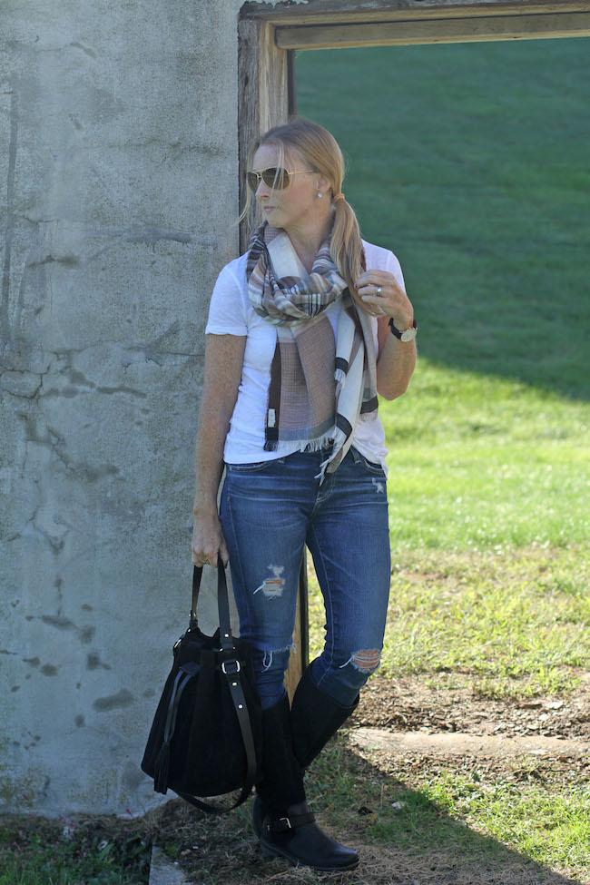 halogen tee, hinge plaid scarf, AG jeans, UGG boots, Mango bucket bag