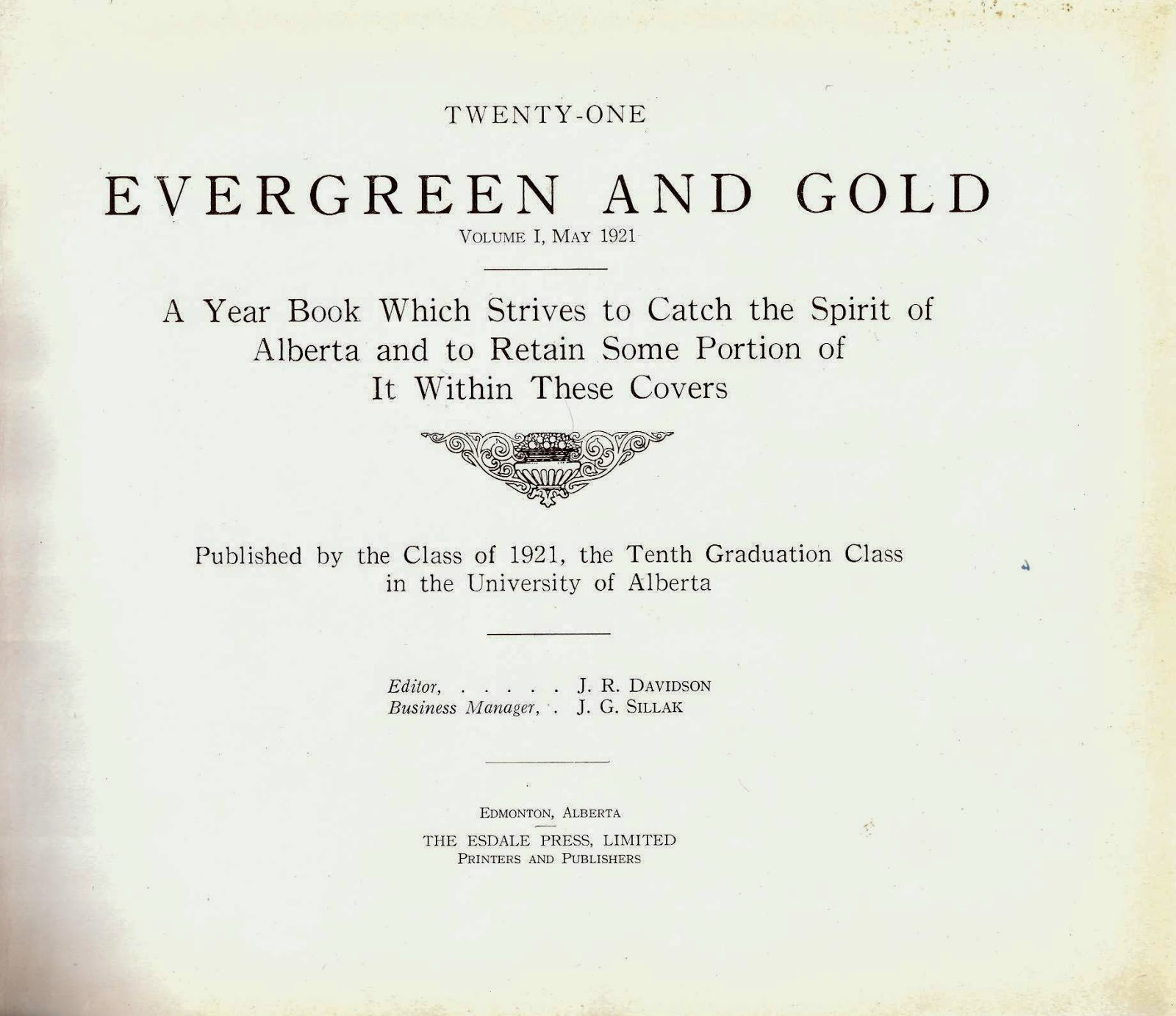 Evergreen and Gold Yearbook (1921)