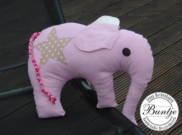 Kuschelkissen Elefant groß rosa Elefantös Farbenmix handmade Buntje nähen Baumwolle Kissen