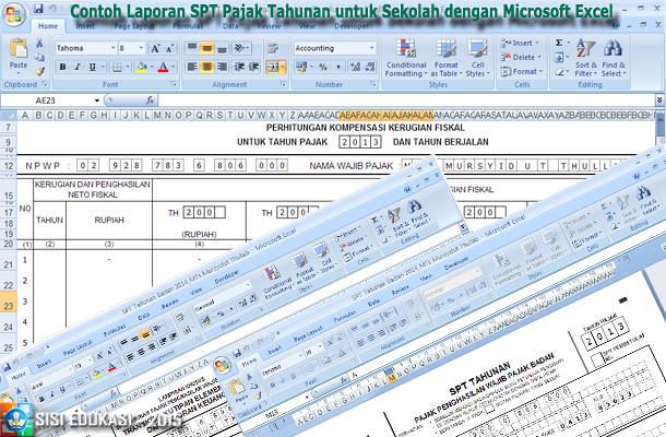 Contoh Laporan SPT Pajak Tahunan untuk Sekolah dengan Microsoft Excel