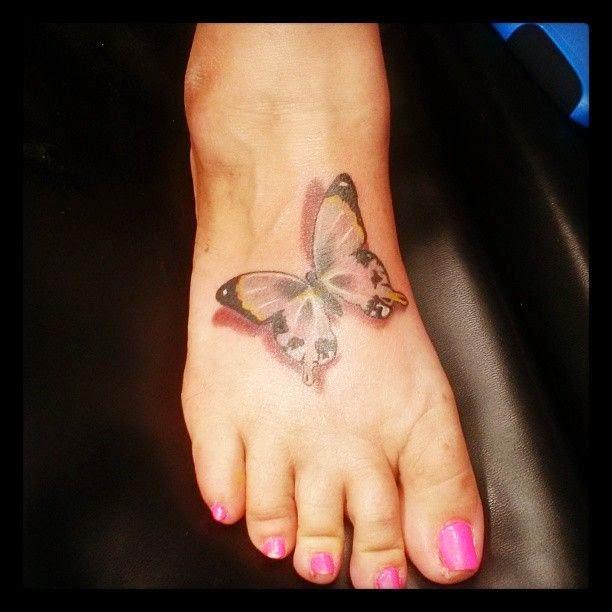 Cute Butterfly Foot Tattoo for Women
