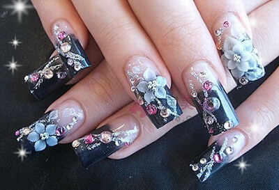 ... nails cool nails floral design glitter and half floral nail design
