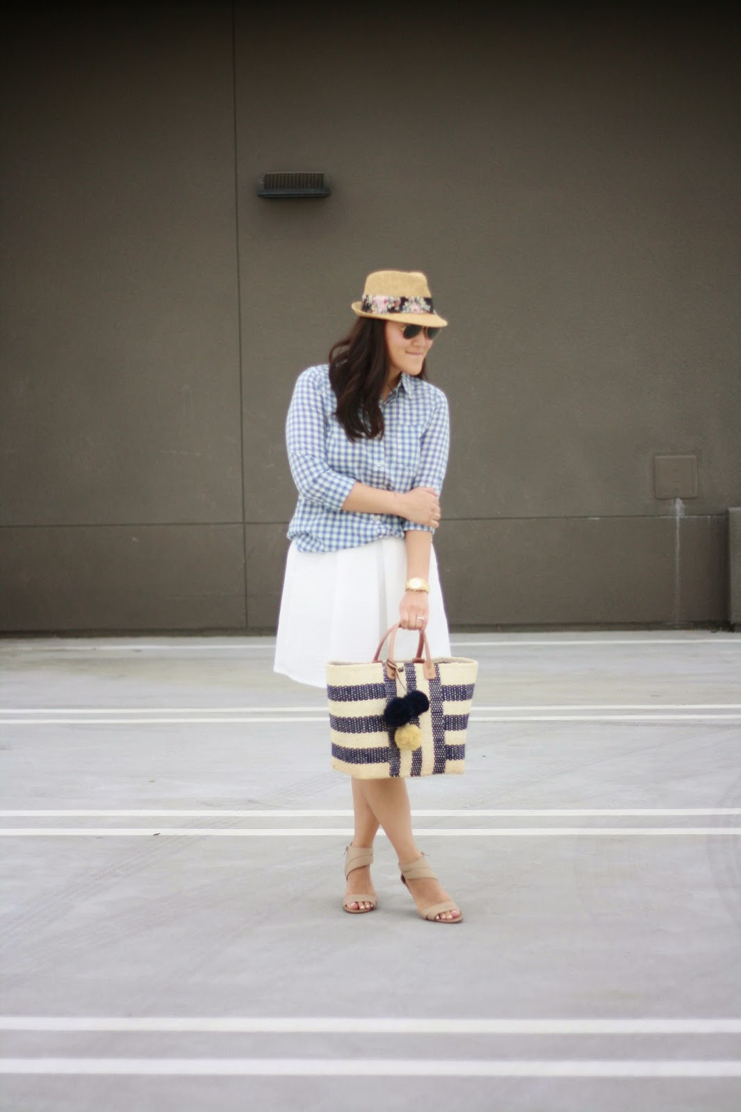 simplyxclassic, mar y sol, gingham shirt, white skirt, nine west sandals, picnic bag, beach bag,