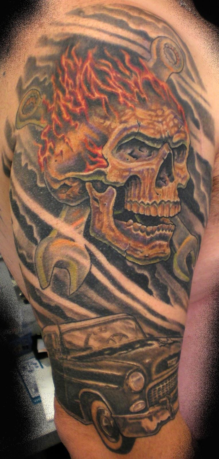 Crazy Head Skull Tattoos