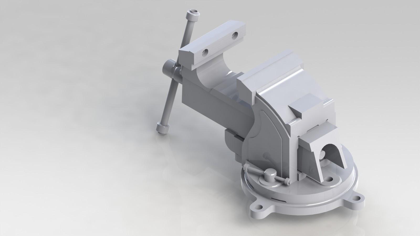 Desenhos em Solidworks e Autocad: Morsa de Bancada #626469 1600x900