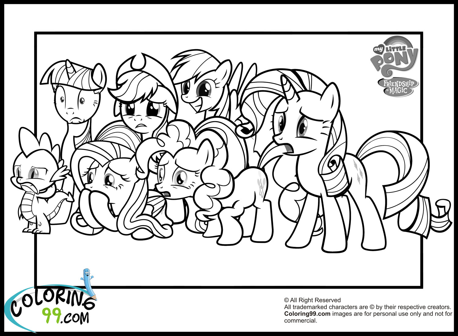 My Little Pony Names Coloring Pages : My little pony coloring pages team colors