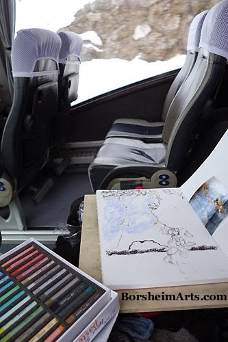 Bus from Croatia to Serbia - Making Art onboard