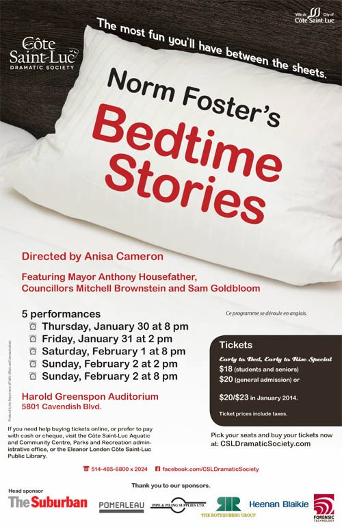 Poster for CSL Dramatic Society production of Norm Foster's Bedtime Stories