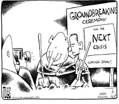 Tom Toles | the birpartisan preparations for the next crisis