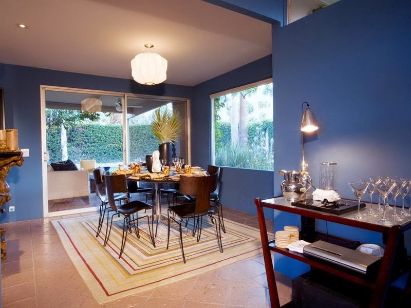 Dining room design with blue color model home interiors for Dining room ideas in blue