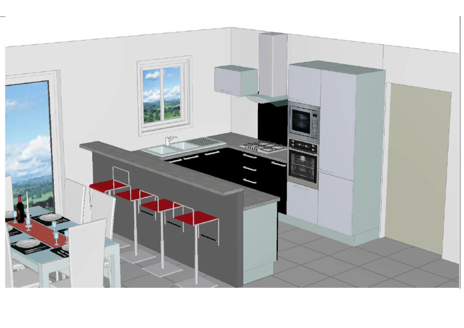 Maison sponsoris e 41 label rt 2012 oucques 41290 for Plan amenagement cuisine 10m2