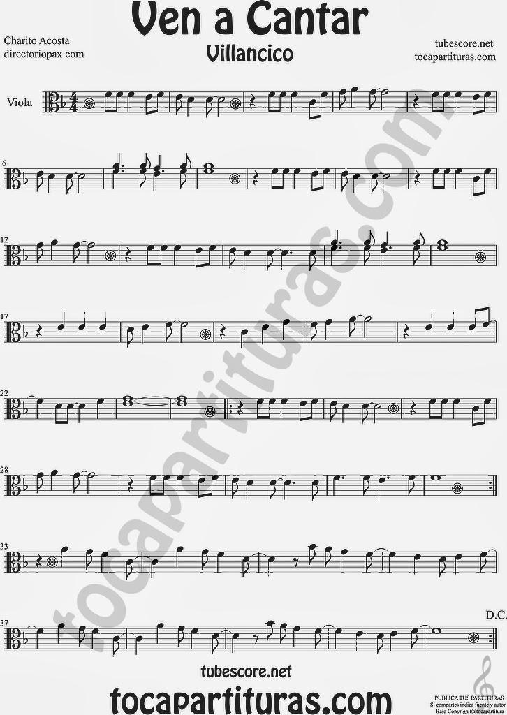 Ven a Cantar Partitura de Viola Sheet Music for Viola Music Scores