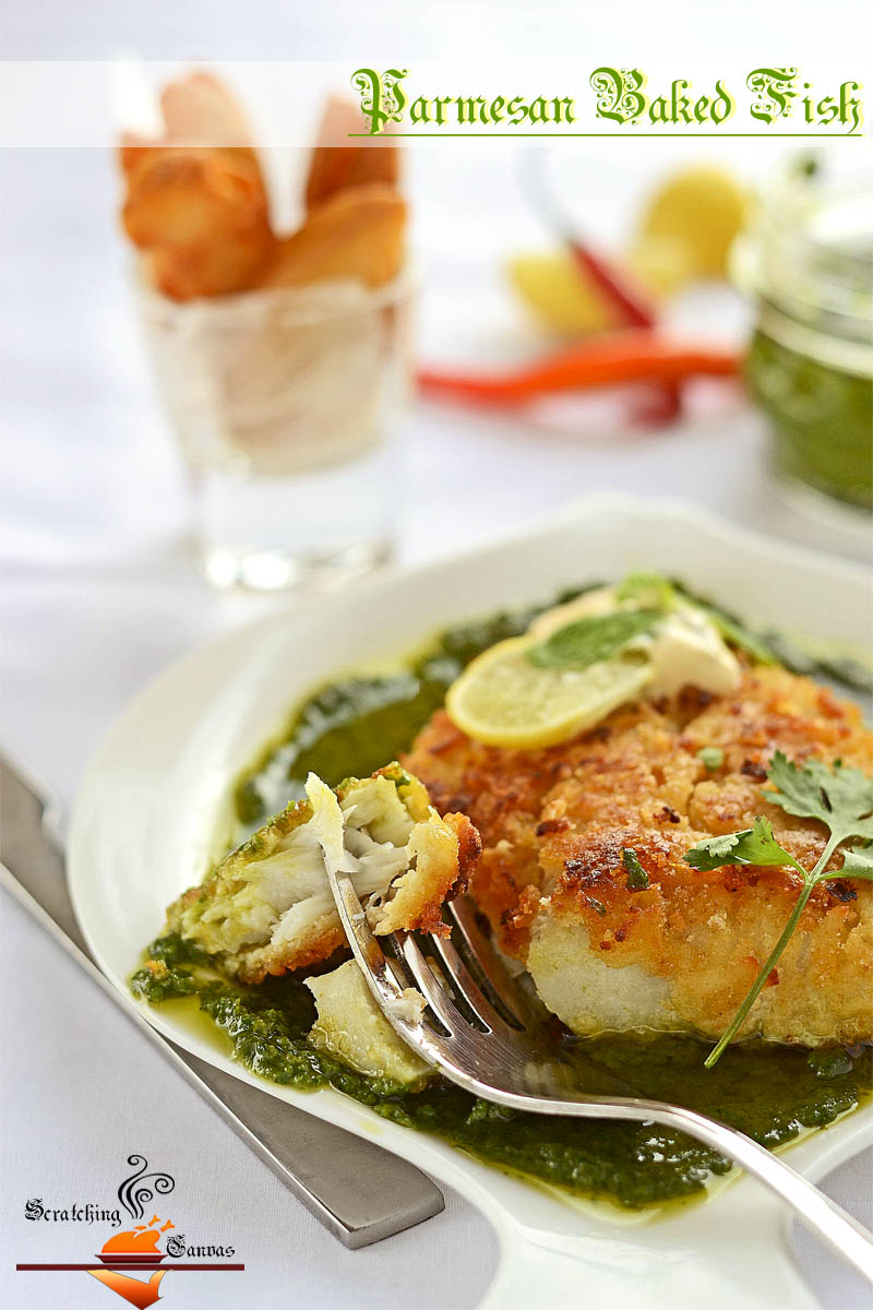 Baked Parmesan Fish With Green Pesto Scratching Canvas