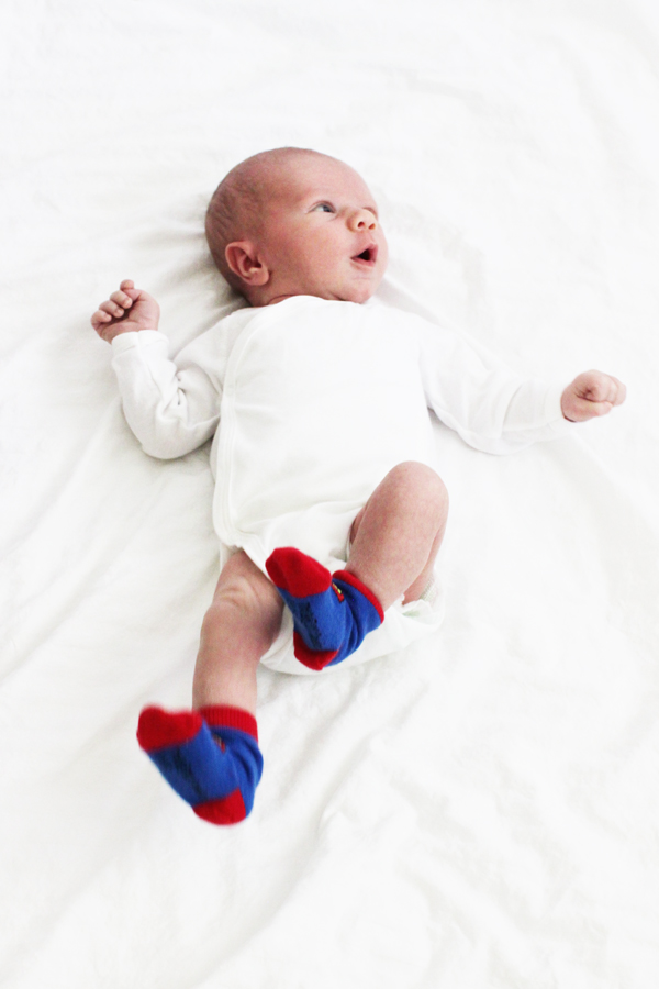 Classic white newborn onesie & Superman socks