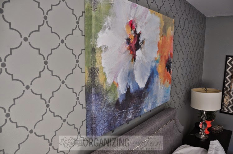 Beautiful feature wall that looks like wallpaper or a stencil, but it's a decal so it's easy to remove and easy to put up :: OrganizingMadeFun.com