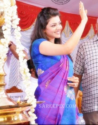 Kajal-agarwal-blue-silk-saree-Karikkineth-silks-inauguration-Kottayam